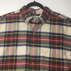 LL BEAN Plaid Flannel Button Down LS shirt Size LG